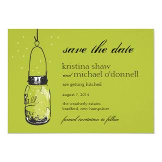 Fireflies & Mason Jar Save the Date Card