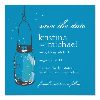 Fireflies & Mason Jar Save the Date Personalized Invite