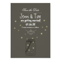 Fireflies Mason Jar Save The Date Invitation Card