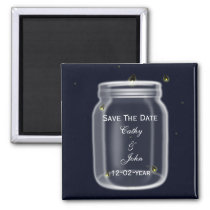 fireflies mason jar wedding save the date magnet