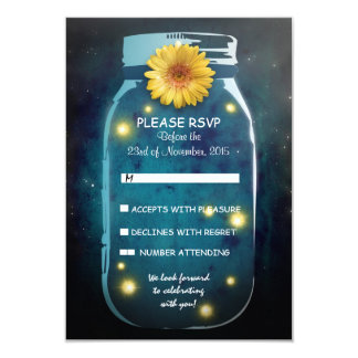 Fireflies & Mason Jar Whimsical Wedding RSVP 3.5x5 Paper Invitation Card