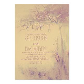 Fireflies Mason Jars Rustic Tree Wedding Invites