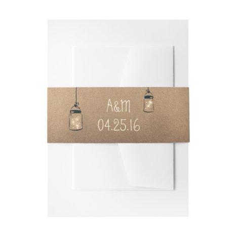 Fireflies Mason Jars Rustic Wedding Invitation Belly Band