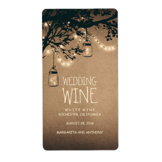 Fireflies Mason Jars Rustic Wine Label
