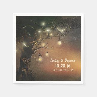 Fireflies mason jars tree wedding napkin