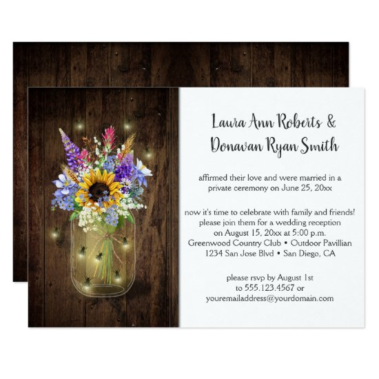 Fireflies Mason Jars Wildflowers Reception Only Invitation