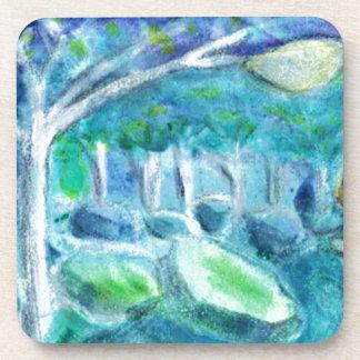 Fireflies & Moonlight Watercolored Dreamscape Drink Coaster