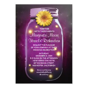 Fireflies & Purple Mason Jar Whimsical Wedding Announcements