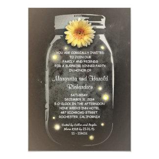 Fireflies & Rustic Mason Jar Whimsical Anniversary Card