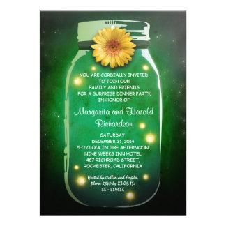Fireflies Rustic Mason Jar Whimsical Anniversary Custom Invitations
