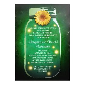 Fireflies & Rustic Mason Jar Whimsical Anniversary Custom Invitations