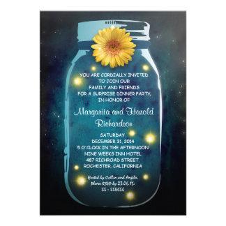 Fireflies Rustic Mason Jar Whimsical Anniversary Card