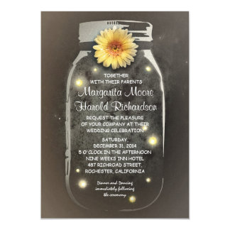 Fireflies & Rustic Mason Jar Whimsical Wedding Card