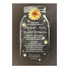 Fireflies & Rustic Mason Jar Whimsical Wedding Custom Invite