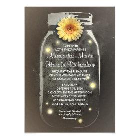 Fireflies & Rustic Mason Jar Whimsical Wedding Invitation