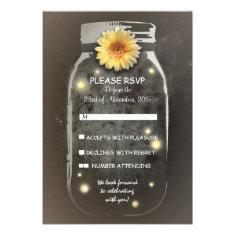Fireflies& Rustic Mason Jar Whimsical Wedding RSVP Custom Invites