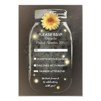 Fireflies& Rustic Mason Jar Whimsical Wedding RSVP 3.5x5 Paper Invitation Card