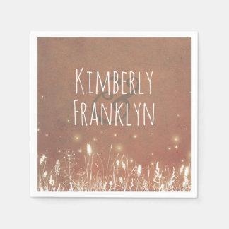 Fireflies Summer Night Field Wedding Paper Napkin