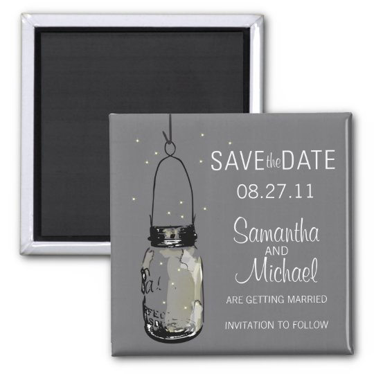Fireflies & Vintage Mason Jar Save the Date 2 Inch Square Magnet