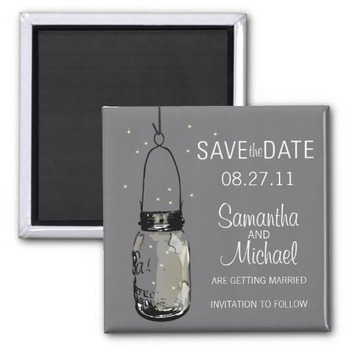 Fireflies & Vintage Mason Jar Save the Date Magnets