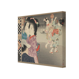 Firefly Cages- Japanese Vintage Art - circa 1900s Canvas Print