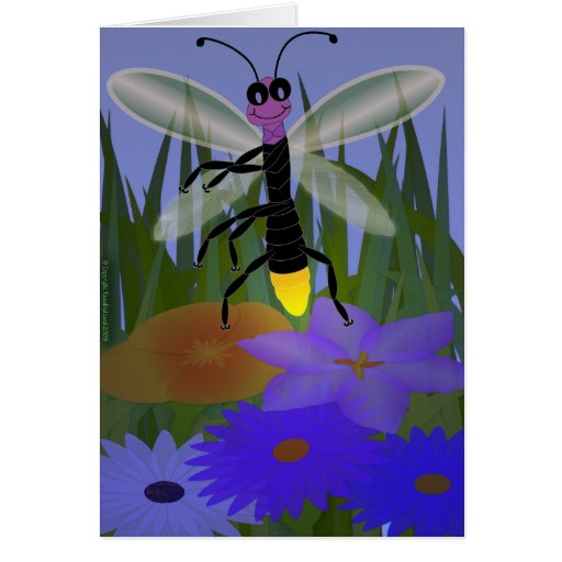 Firefly Dancing on Flowers Greeting Cards