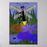 Firefly Dancing on Flowers Print