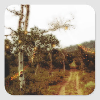 Firefly Fairies on a Dusty Forest Road Square Sticker