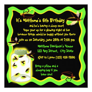 Firefly Frolic Birthday Personalized Announcements