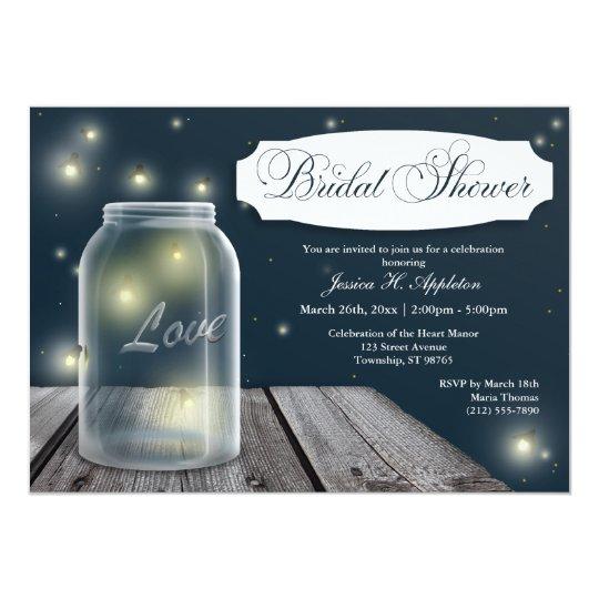 Firefly Mason Jar Bridal Shower Invitations