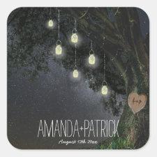 Firefly Mason Jar Oak Tree Wedding Favors Seals Square Sticker