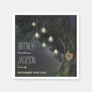 Firefly Mason Jar Oak Tree Wedding Napkins