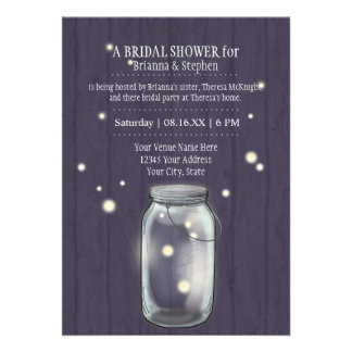 Firefly Mason Jar Rustic Country Couples Shower Personalized Invitation