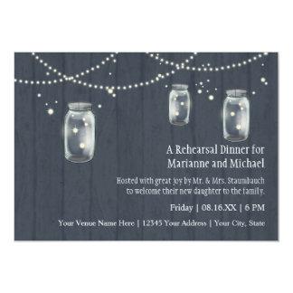 Firefly Mason Jar Rustic Country Night Weddings 5x7 Paper Invitation Card