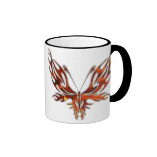 FireFly Red Flame Butterfly Design Ringer Mug
