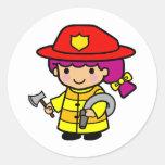 Firegirl Etiqueta Redonda