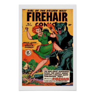 Firehair 1948 vintage comic cover poster