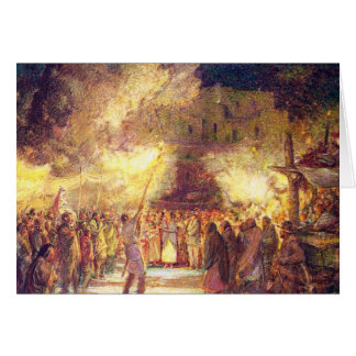 Firelight Procession at the Pueblo on Christmas Ev Card
