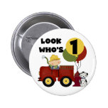Fireman 1st Birthday Tshirts and Gifts Buttons