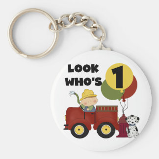 Fireman 1st Birthday Tshirts and Gifts Key Chain