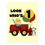 Fireman 1st Birthday Tshirts and Gifts Post Cards