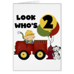 Fireman 2nd Birthday Tshirts and Gifts Greeting Cards