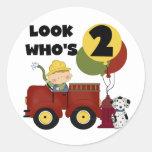 Fireman 2nd Birthday Tshirts and Gifts Round Sticker