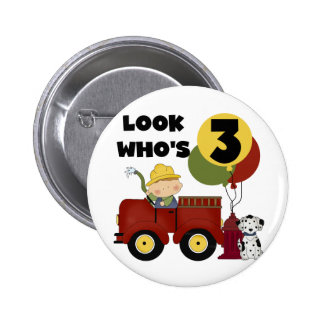 Fireman 3rd Birthday T-shirts and Gifts Button
