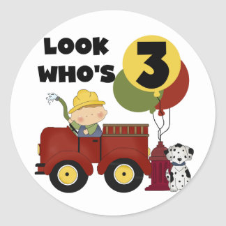 Fireman 3rd Birthday T-shirts and Gifts Classic Round Sticker