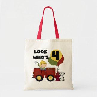 Fireman 4th Birthday Tshirts and Gifts Bags
