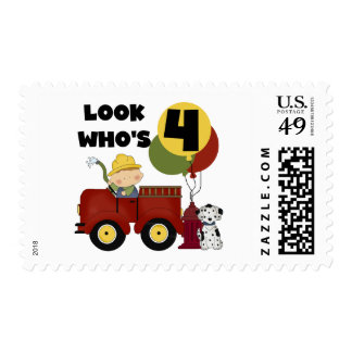 Fireman 4th Birthday Tshirts and Gifts Stamps