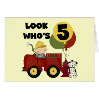 Fireman 5th Birthday T-shirts and Gifts Card