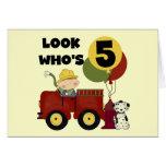 Fireman 5th Birthday T-shirts and Gifts Greeting Card