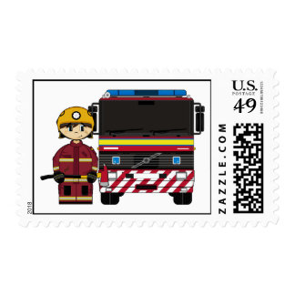Fireman and Fire Engine Stamp